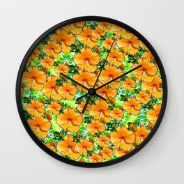 Hibiscus Flower - Gold Wall Clock