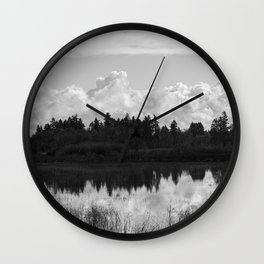 Wetlands Black and White Wall Clock