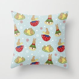 Tea Time in the Snow Throw Pillow
