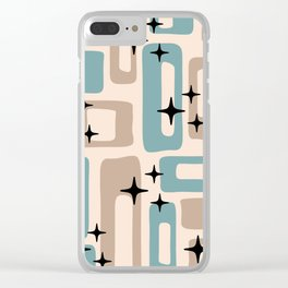 Retro Mid Century Modern Abstract Pattern 227 Blue and Beige Clear iPhone Case