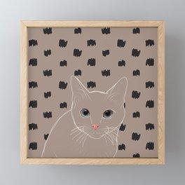 Cat stare Framed Mini Art Print