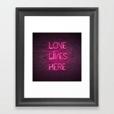 Love Lives Here (Magenta) Framed Art Print