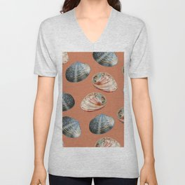seashell clams Coral Background Unisex V-Neck