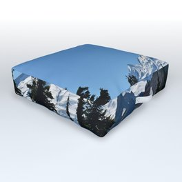 Snow Cap on the Mountain Outdoor Floor Cushion