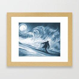 Snowboarder in 100km Blower Framed Art Print