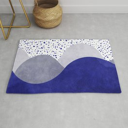 Terrazzo galaxy wave blue grey white Rug
