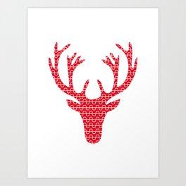 Red deer head Art Print