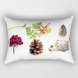 Flowers, Pinecones, and Driftwood Flatlay Rectangular Pillow