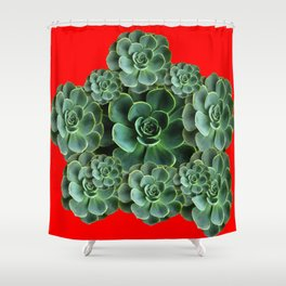 CHINESE  RED ART JADE GREEN SUCCULENTS Shower Curtain