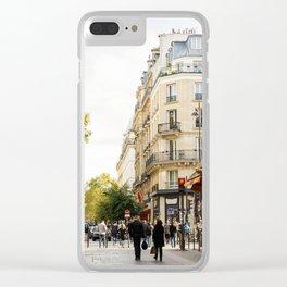 Walking through a parisian street Clear iPhone Case