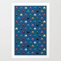 Cool Colorful Megaman Helmet Pattern Art Print