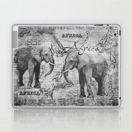 African Spirit Vintage Elephant black white Laptop & iPad Skin