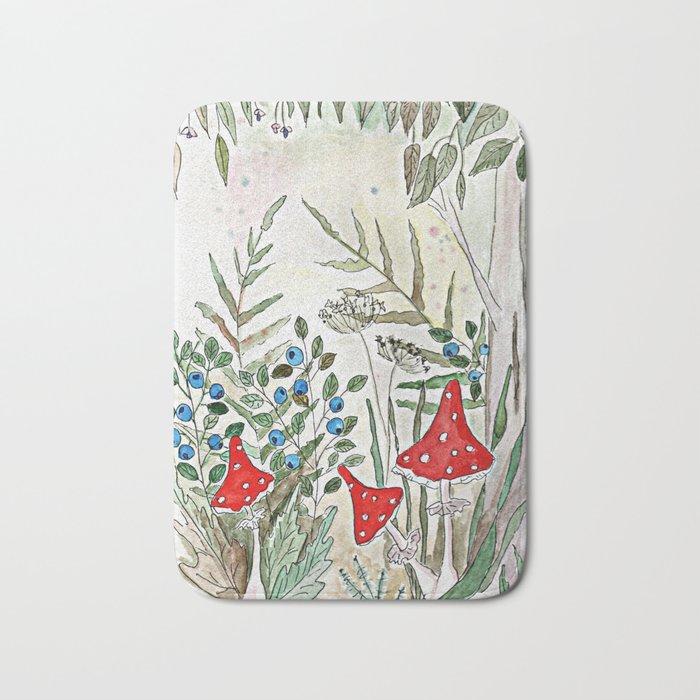 Watercolor. Forest. Amanita. Bath Mat
