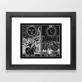 The Sun and Moon Tarot Cards | Obsidian & Pearl Framed Art Print