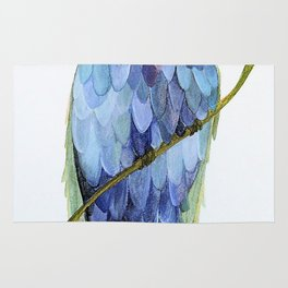 Blue Bird Watercolor Illustration Rug