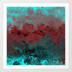 Cool Aqua and Red Abstract Art Print