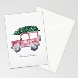 Merry Christmas - Red Jeep Wrangler with Christmas Tree Stationery Cards