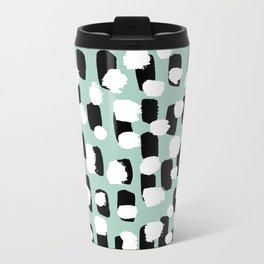 Spotted series abstract dashes mint black and white raw paint spots Travel Mug