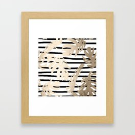 Simply Tropical White Gold Sands Palm Leaves on Stripes Framed Art Print