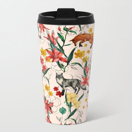 Floral Fox Metal Travel Mug
