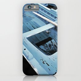Blue Painted Rustic Wooden Fishing Boats iPhone Case