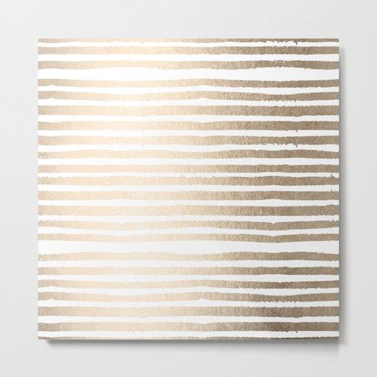 White Gold Sands Shibori Stripes Metal Print