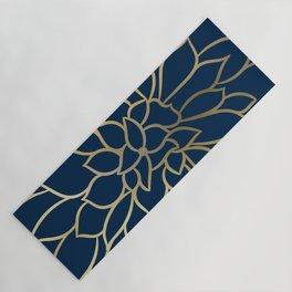 Floral Prints, Line Art, Navy Blue and Gold Yoga Mat