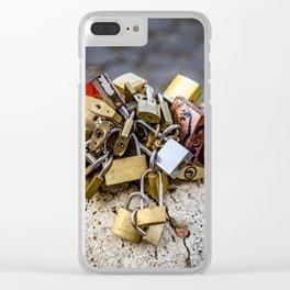 lovers padlocks on the Sant'Angelo bridge Clear iPhone Case