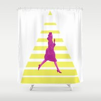 emma watson Shower Curtains featuring Emma by Cristian Emanuel Pop