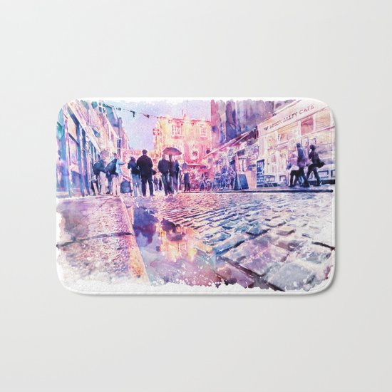 Dublin Watercolor Streetscape Bath Mat