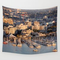 vancouver Wall Tapestries featuring Vancouver Marina 1 by Susan's  Shop