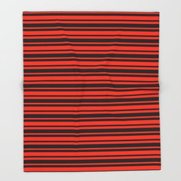 Bright Red and Black Horizontal Var Size Stripes Throw Blanket
