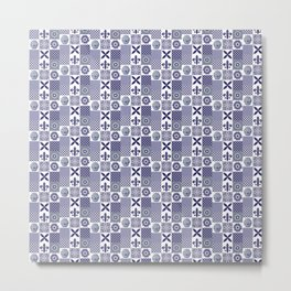 Patchwork Geometric Blue and White Tiles Pattern Metal Print