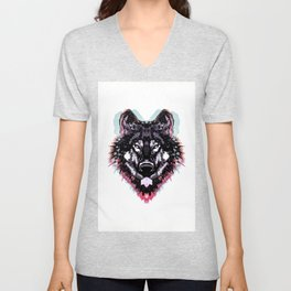 Artistic abstract black neon pink teal watercolor wolf Unisex V-Neck