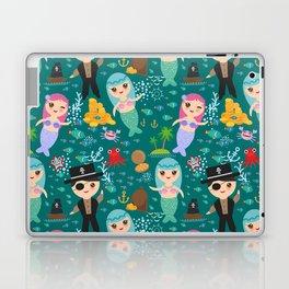 Mermaid with pirate, dark blue sea background Laptop & iPad Skin