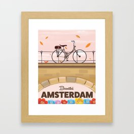 Amsterdam Holland Bicycle travel poster. Framed Art Print