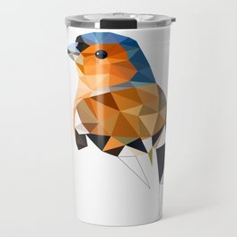 Chaffinch Bird art Geometric artwork Orange brown and blue Travel Mug