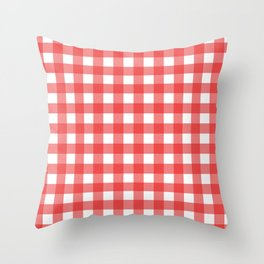 Red white gingham Throw Pillow