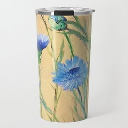 Bachelor Buttons, Flower Painting, by Faye Travel Mug