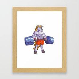 Gym strong unicorn fitness training sporty Framed Art Print