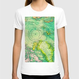 Colorful Map of the North Pole - Vintage T-shirt