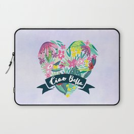 Floral Heart Ciao Bella Typography Laptop Sleeve