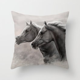 Two Horses Painting Gift Black Stallions                                          Throw Pillow