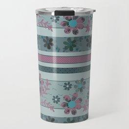 Retro . Turquoise and purple floral pattern . Travel Mug