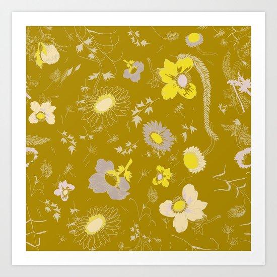 large flowers - mustards Art Print