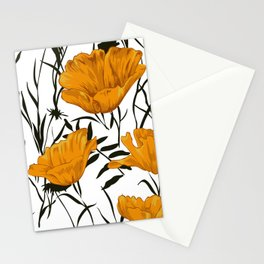Flowers, Poppies, Floral Prints, Yellow, Black and White Art Stationery Cards
