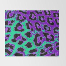 Aqua-Violet Leopard Spots Throw Blanket