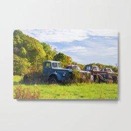 Antique Trucks in Autumn Metal Print