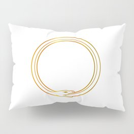 The symbol of Ouroboros snake in gold colors Pillow Sham