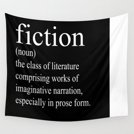 Fiction Definition (White on Black) Wall Tapestry
